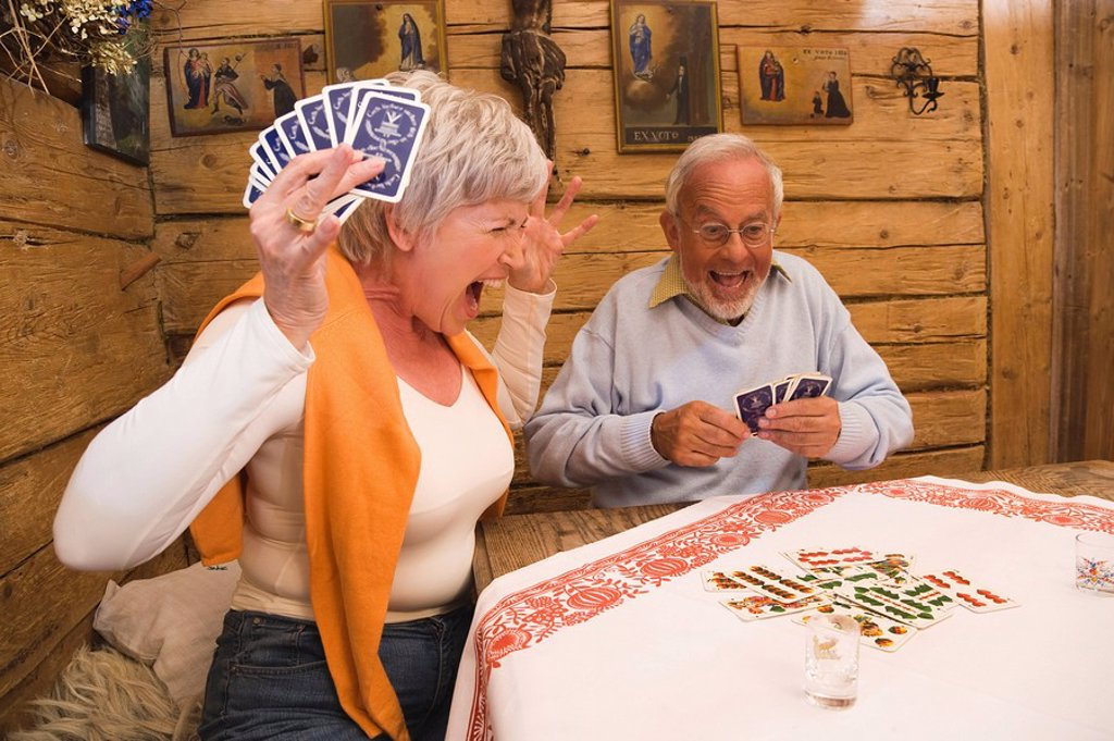 Senior couple playing cards : Stock Photo
