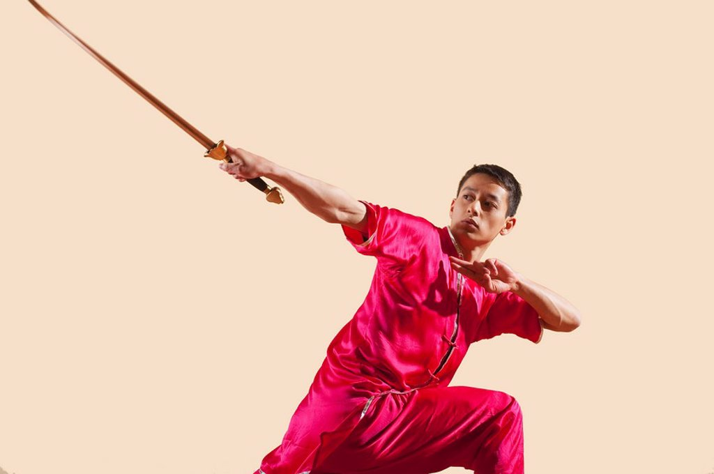 Kung Fu, Jianshu, Chabu hou zhan, Man holding sword : Stock Photo