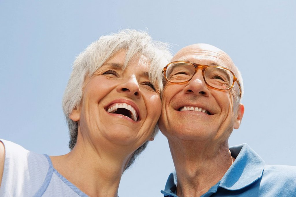 Senior couple, portrait, low angle view, close_up : Stock Photo