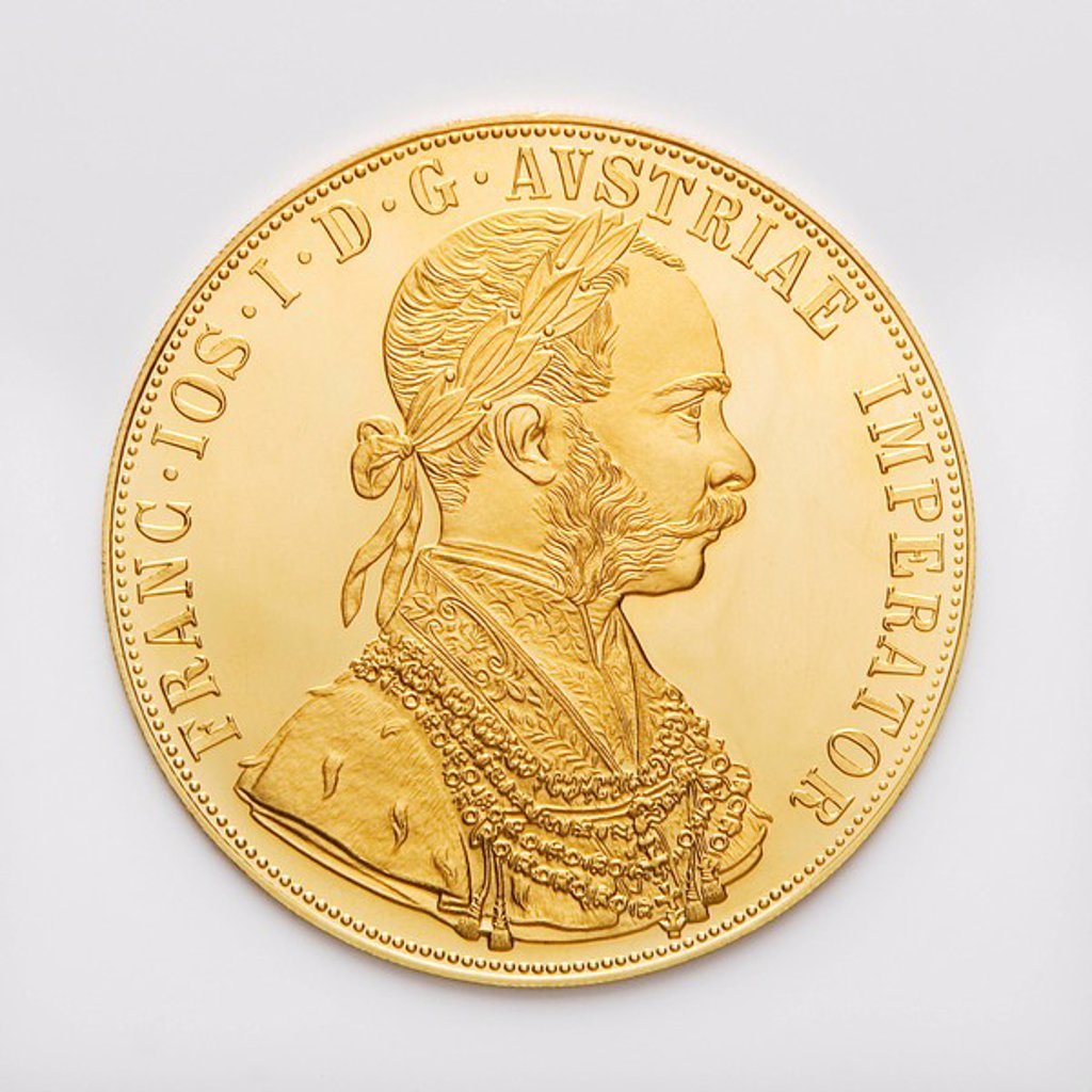 Austrian Ducat, Gold coin, close up : Stock Photo