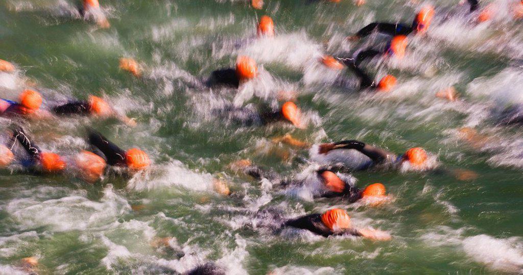 Austria, Lake Mondsee, Swimming competition : Stock Photo