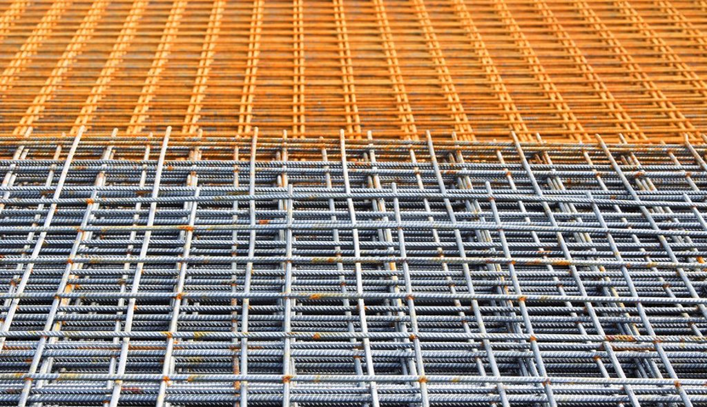 Construction steel, grid, full frame : Stock Photo