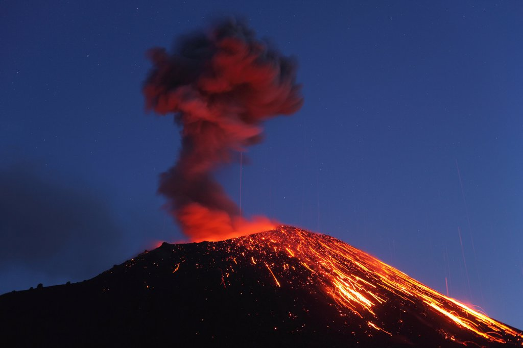Indonesia, Sumatra, Krakatoa volcano erupting : Stock Photo