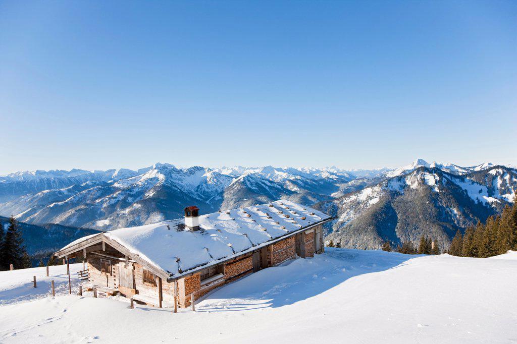 Germany, Bavaria, Rottwand, Mountain hut in winter : Stock Photo