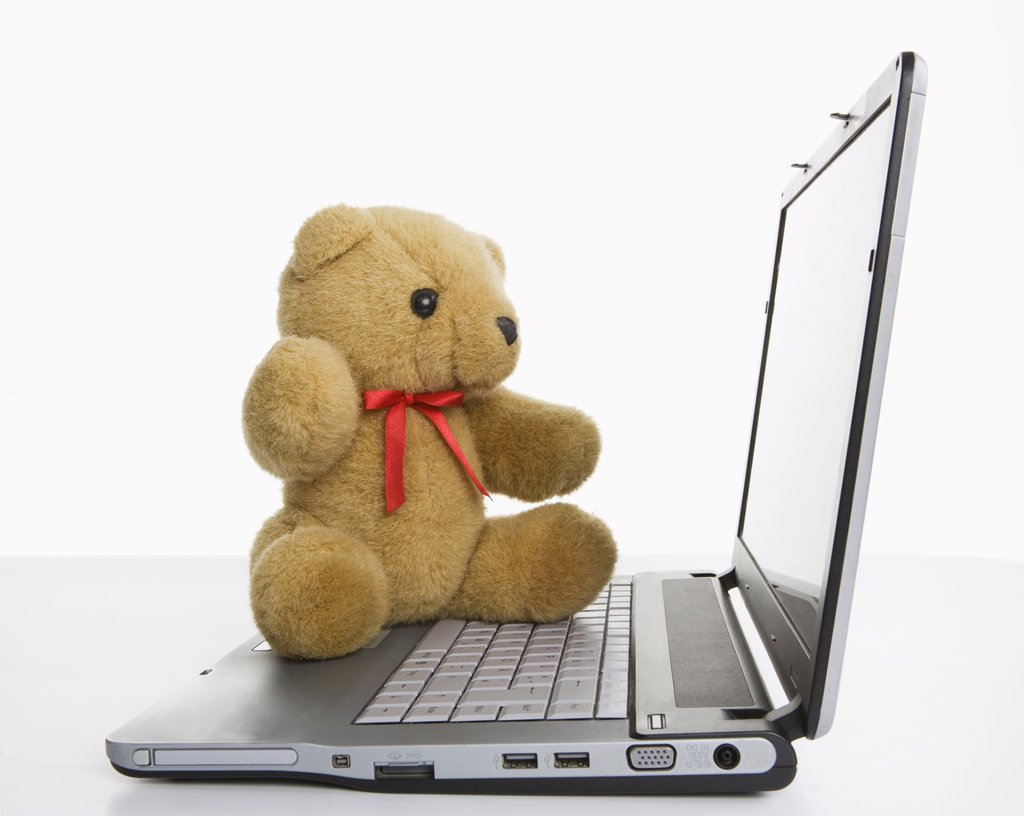 Teddy_bear on laptop, close up : Stock Photo