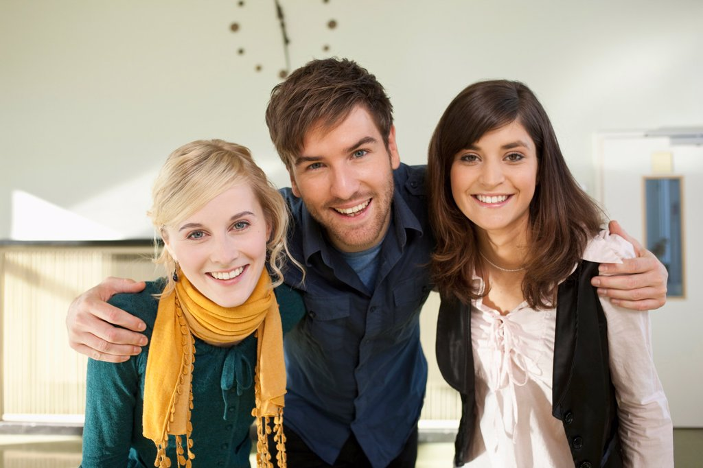 Stock Photo: 1815R-72372 Germany, Leipzig, University students enjoying together, smiling, portrait