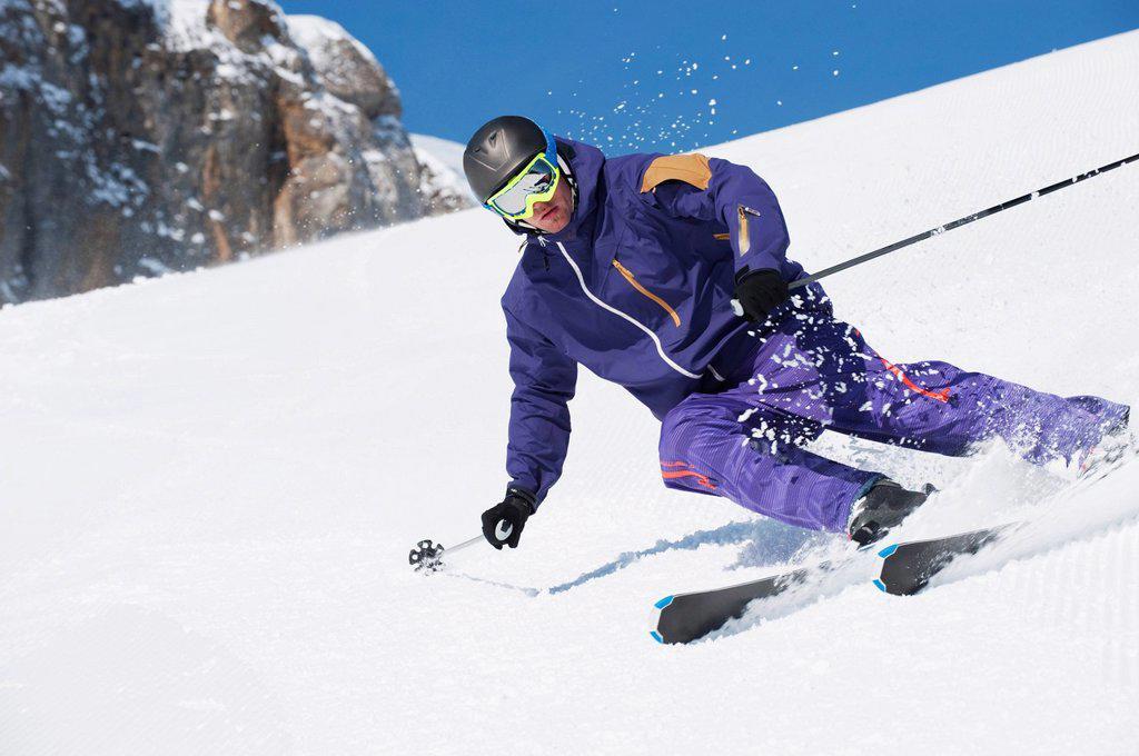 Stock Photo: 1815R-73738 Austria, Kleinwalsertal, Man skiing