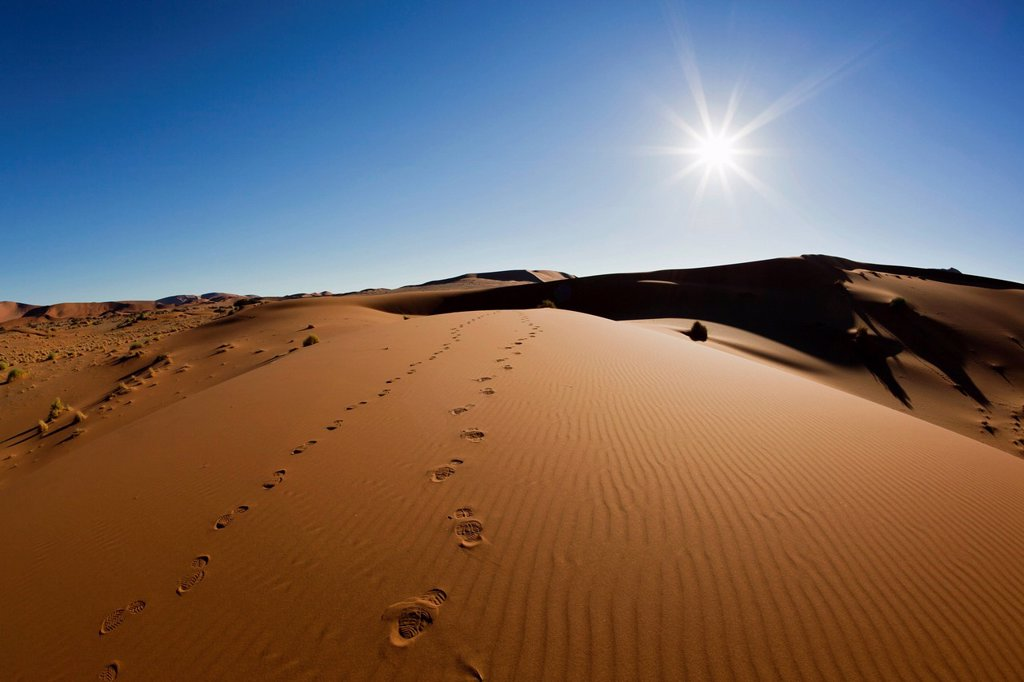 Africa, Namibia, Namib Naukluft National Park, Footprints on sand dunes at the naravlei in the namib desert : Stock Photo