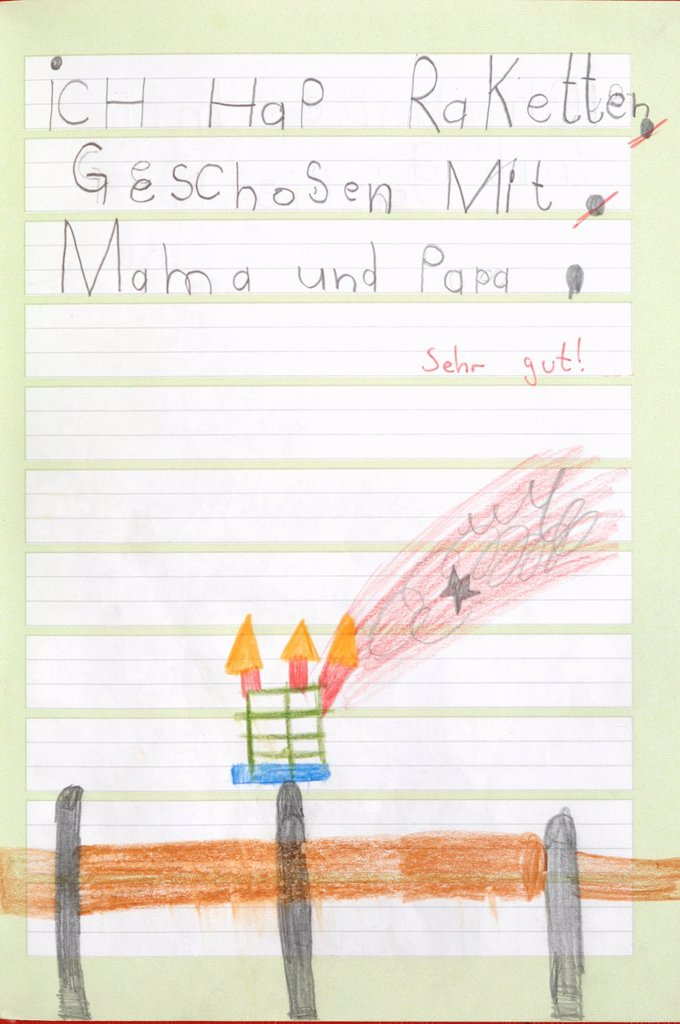 Germany, Munich, Child´s drawing in exercise book : Stock Photo