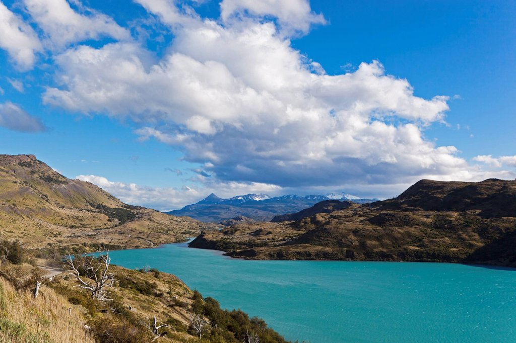 Stock Photo: 1815R-74210 South America, Chile, Patagonia, View of cuernos del paine with river rio paine