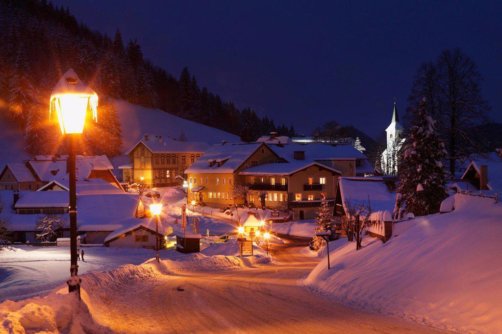 Austria, Lower Austria, Mostviertel, View of lackendorf town at night : Stock Photo