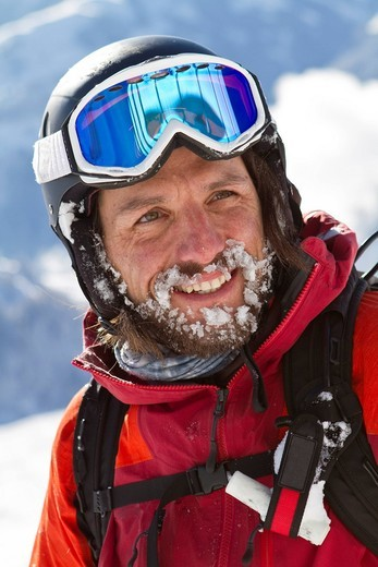 Austria, Tyrol, Kitzbuehel, Close_up of mature man in skiwear : Stock Photo