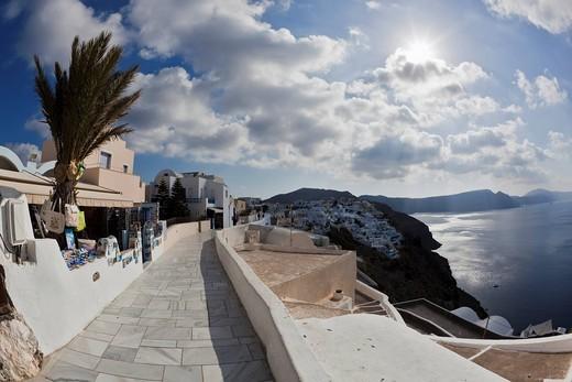 Greece, Cyclades, Thira, Santorini, Oia, View of village tourist shops : Stock Photo