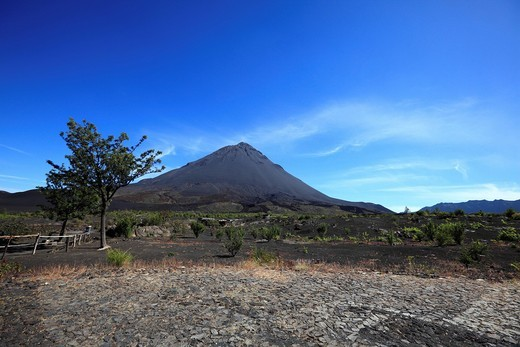 Africa, Cape Verde, View of volcano mount fogo : Stock Photo