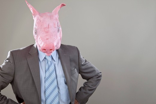 Close up of businessman with pigs head in office against grey background : Stock Photo