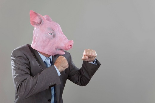 Stock Photo: 1815R-80520 Close up of businessman with pigs head fighting in office against grey background