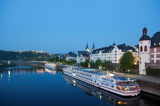 Stock Photo: 1815R-81272 Koblenz , View of old town with churches and old castle, cruise ships river Moselle