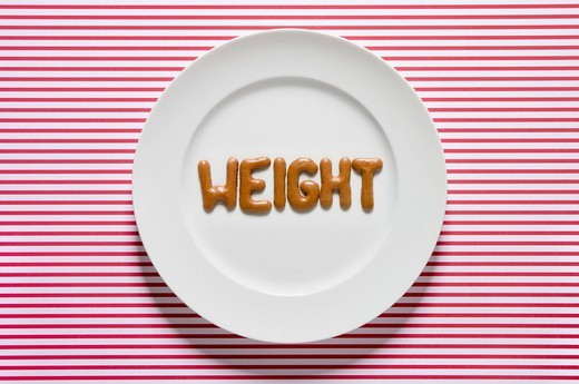 Stock Photo: 1815R-81386 Word weight written with russian bread on dish, close up