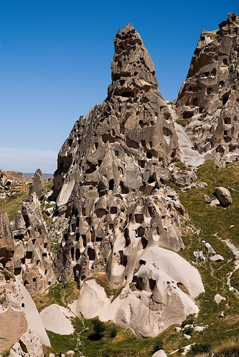 Turkey, Cappadocia, View of uchisar castle : Stock Photo