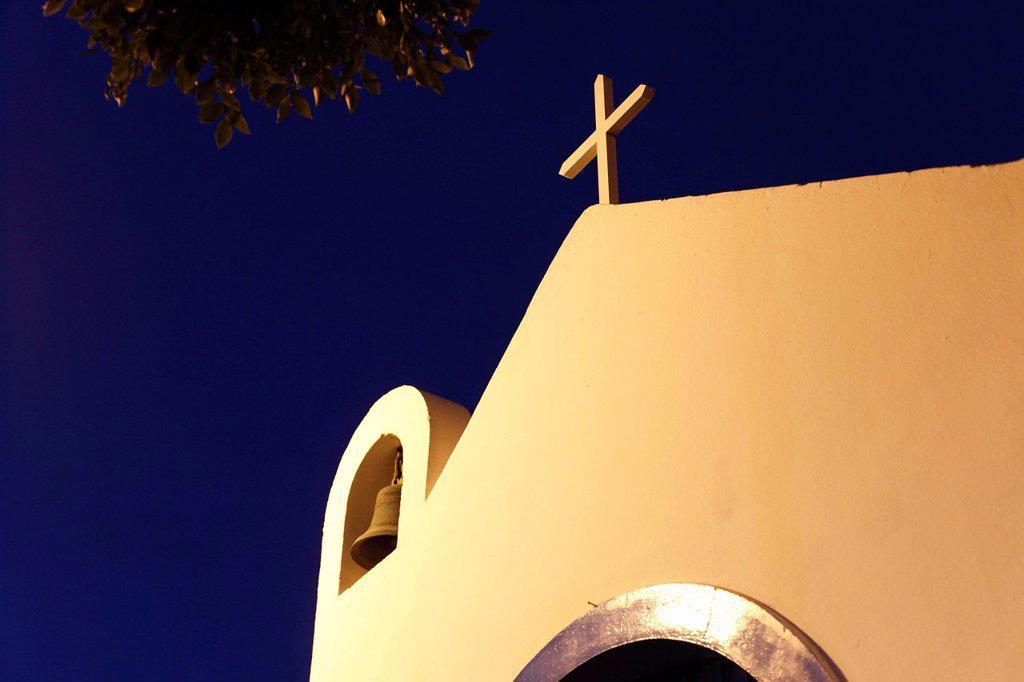 Spain, Canary Islands, La Gomera, La Playa, View of san pedro chapel at night : Stock Photo
