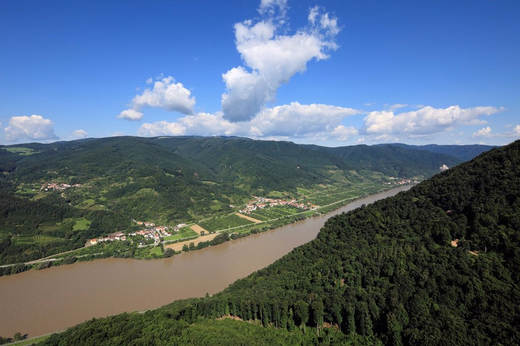 Austria, Lower Austria, View of mountains and danube river : Stock Photo