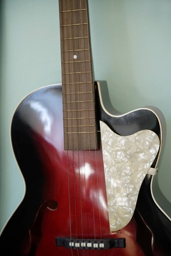Europe, Germany, Grafrath, Close up of guitar : Stock Photo