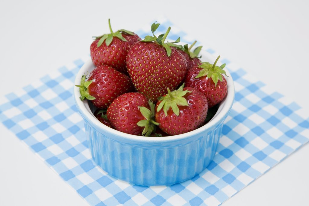 Strawberries in bowl : Stock Photo