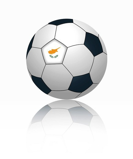 Cypriot flag on football, close up : Stock Photo
