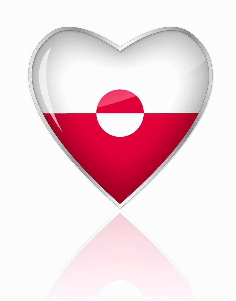 Stock Photo: 1815R-84717 Greenland flag in heart shape on white background