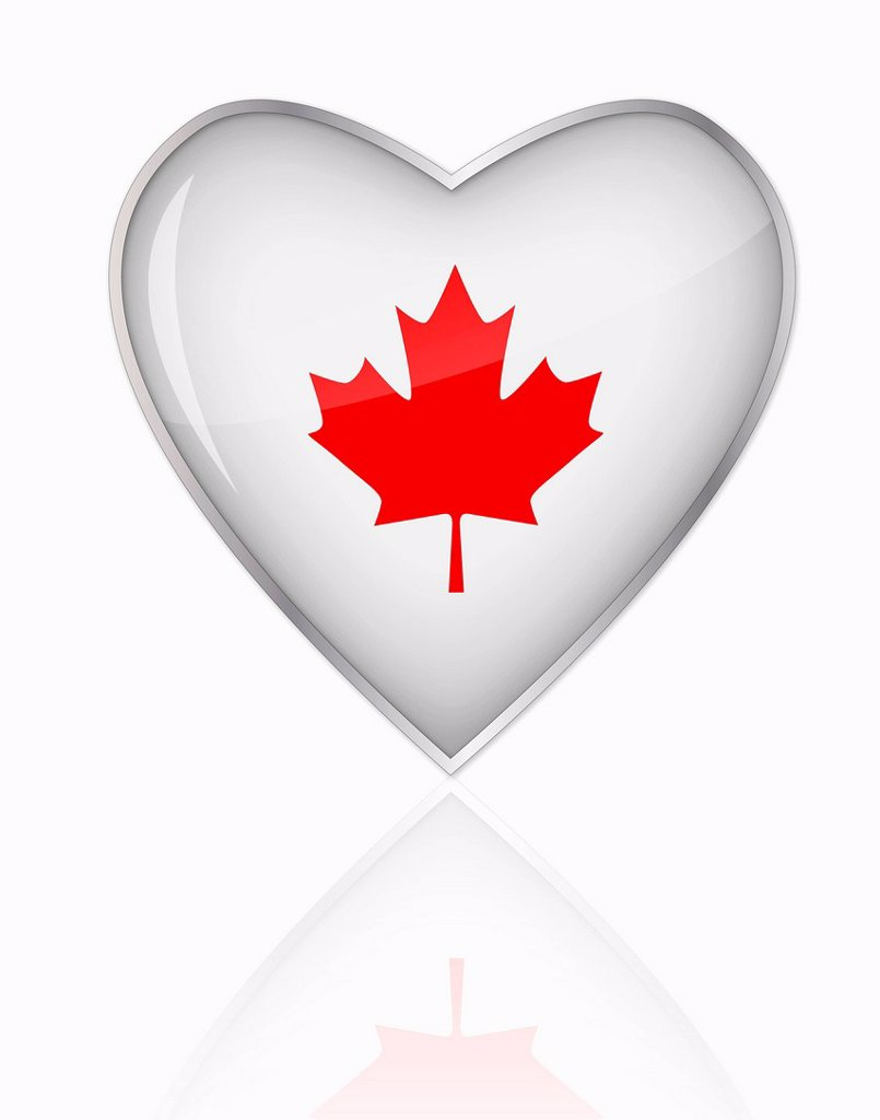 Stock Photo: 1815R-84724 Canadian flag in heart shape on white background