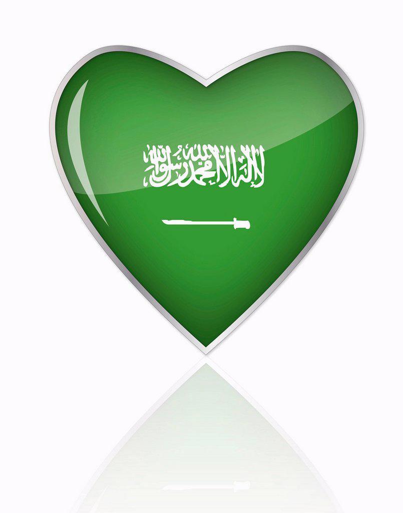 Saudi Arabian flag in heart shape on white background : Stock Photo