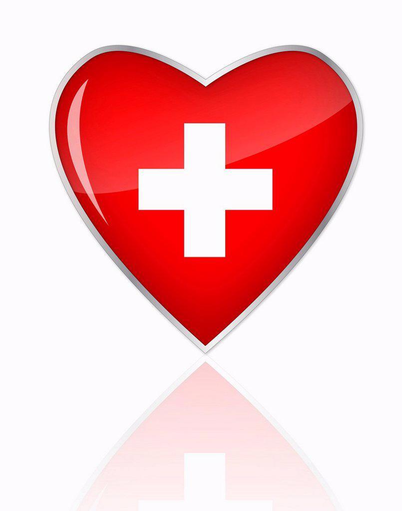 Swiss flag in heart shape on white background : Stock Photo