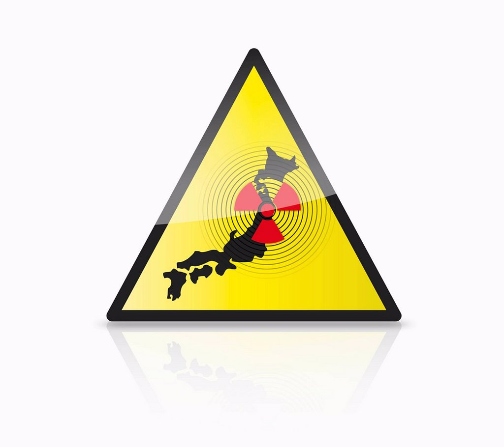 Close up of illustration of atom sign with japan map on triangle : Stock Photo