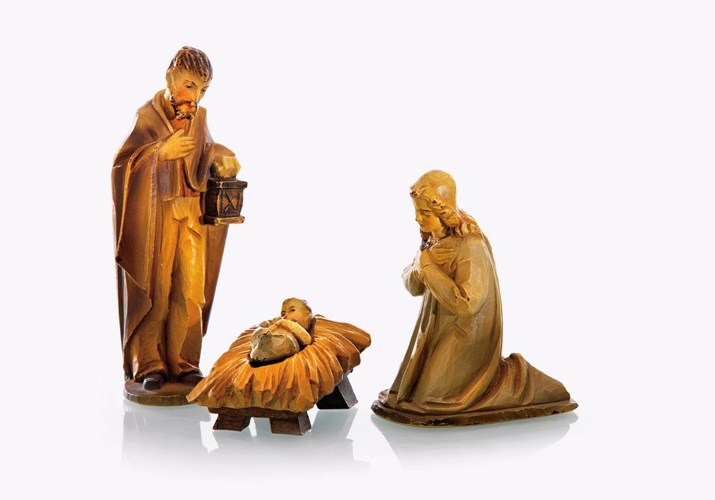 Stock Photo: 1815R-85314 Close up of nativity scene on white background