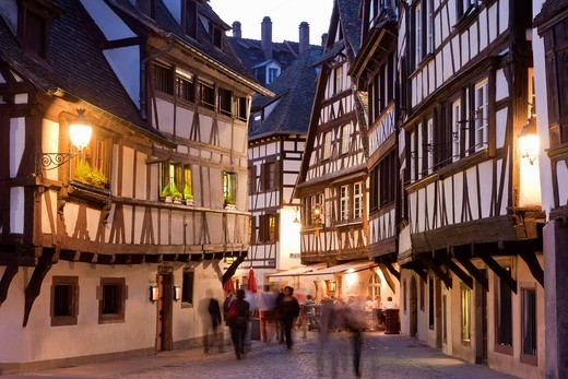 France, Alsace, Strasbourg, Petite_France, View of restaurants, taverns and framed houses : Stock Photo