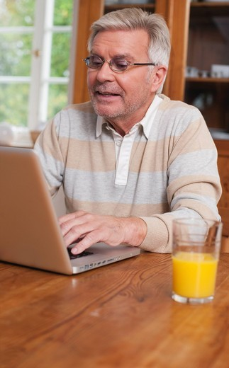 Germany, Kratzeburg, Senior man using laptop : Stock Photo