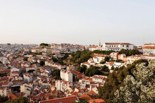 Europe, Portugal, Lisbon, Alfama, View of city with Mosteiro Nossa Senhora da Graca monastery and church : Stock Photo
