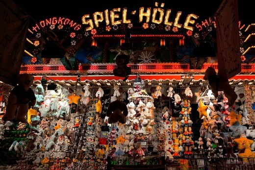 Stock Photo: 1815R-90053 Germany, Stuttgart, View of carnival gambling booth at night