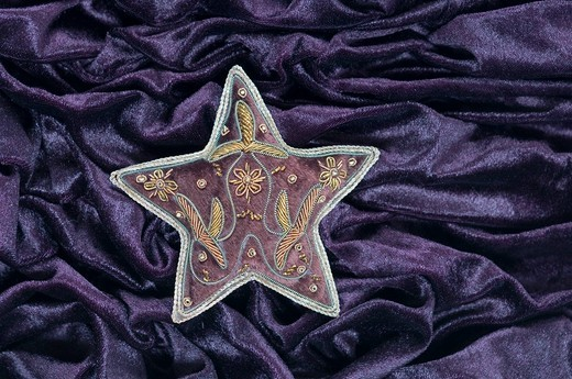 Stock Photo: 1815R-91752 Star shape with embroidery on velvet