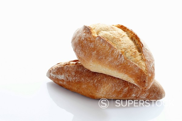 Stock Photo: 1815R-94043 Baguette roll on white background, close up