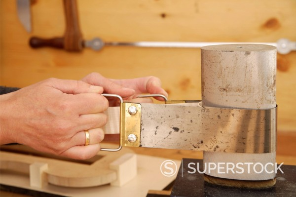 Stock Photo: 1815R-95131 Germany, Upper Bavaria, Schaeftlarn, Violin maker making violin, close up