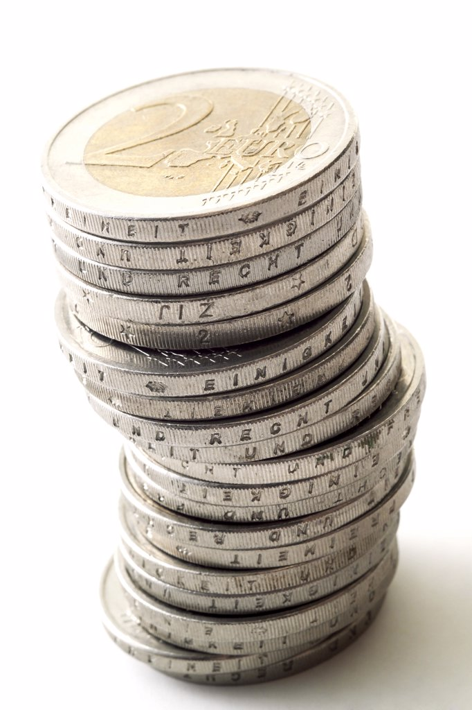Pile of 2 Euro coins : Stock Photo
