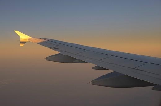 Germany, Hessen, Frankfurt, View of plane at dusk : Stock Photo