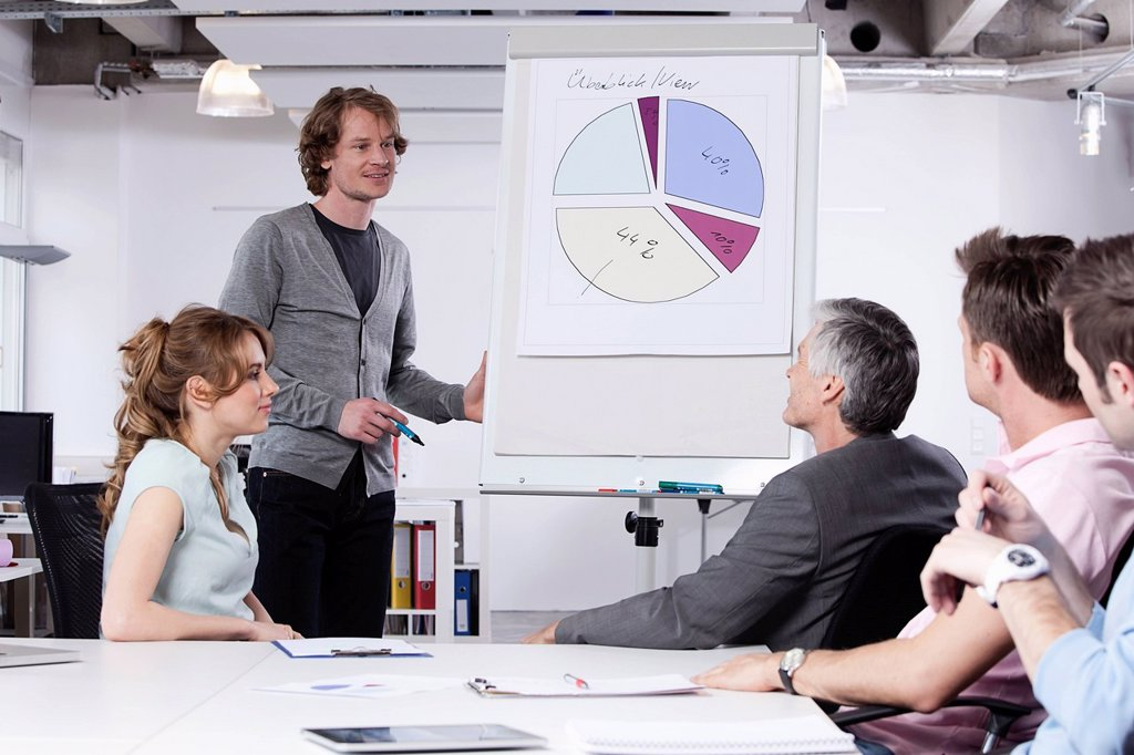 Germany, Bavaria, Munich, Man explaining pie chart to colleagues : Stock Photo