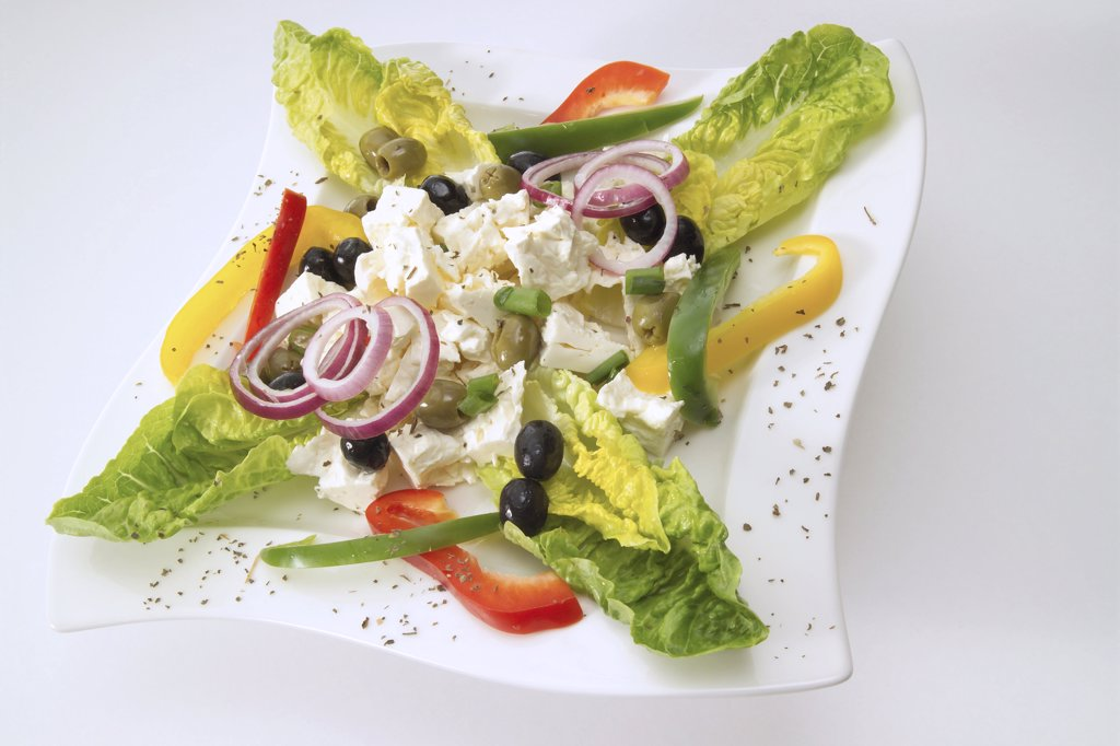Greek salad with cheese : Stock Photo