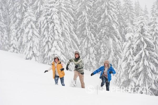 Stock Photo: 1815R-99626 Austria, Salzburg, Men and woman walking through winter landscape