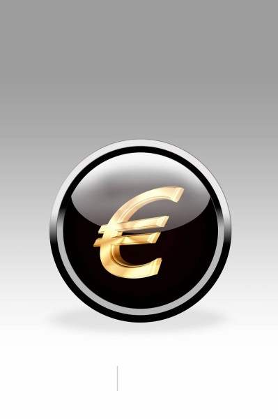 Black button showing euro symbol, close up : Stock Photo