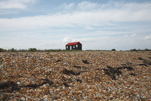 Beach hut with Union Jack painted shutter in England : Stock Photo