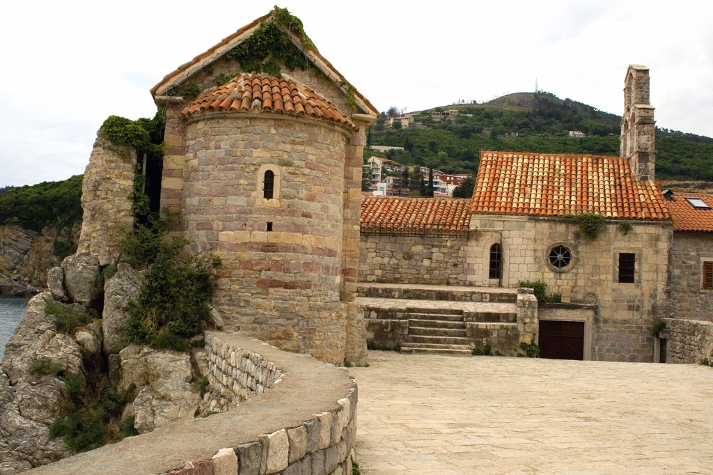 Stock Photo: 1818-229 Church with a hill in the background, Budva, Montenegro