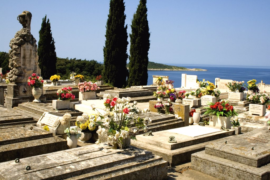 Stock Photo: 1818-230 Graves in a cemetery, Cavtat, Dalmatia, Croatia
